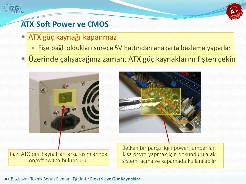 A+ Bilgisayar Teknik Servis Elemanı Eğitimi / Elektrik ve Güç Kaynakları Bazı ATX güç kaynakları arka kısımlarında on/off switch bulundurur İletken bi