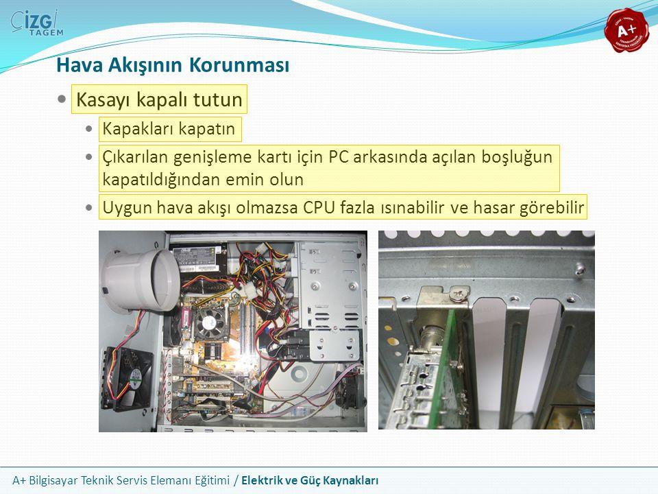 A+ Bilgisayar Teknik Servis Elemanı Eğitimi / Elektrik ve Güç Kaynakları Kasayı kapalı tutun Kapakları kapatın Çıkarılan genişleme kartı için PC arkas