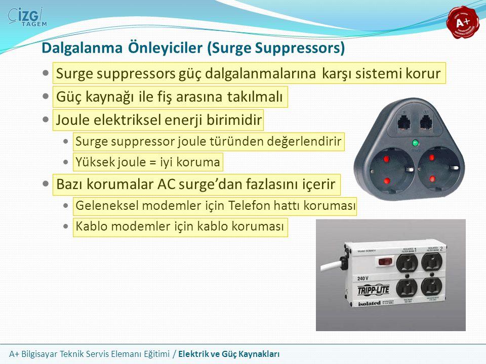 A+ Bilgisayar Teknik Servis Elemanı Eğitimi / Elektrik ve Güç Kaynakları Surge suppressors güç dalgalanmalarına karşı sistemi korur Güç kaynağı ile fi