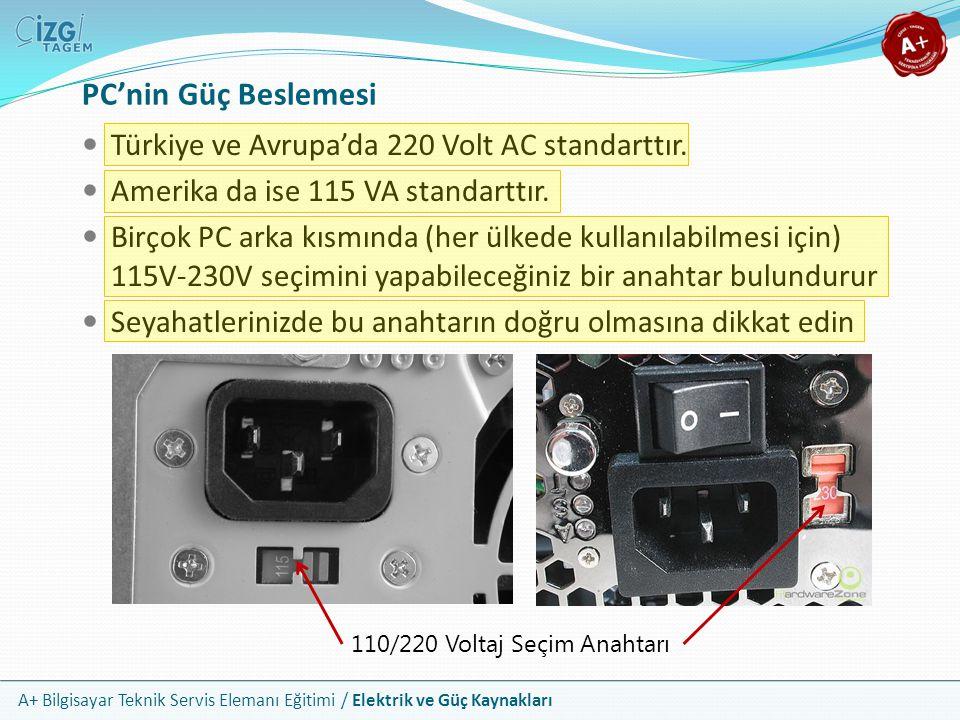 A+ Bilgisayar Teknik Servis Elemanı Eğitimi / Elektrik ve Güç Kaynakları Türkiye ve Avrupa'da 220 Volt AC standarttır. Amerika da ise 115 VA standartt