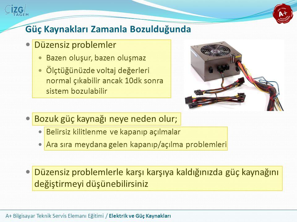 A+ Bilgisayar Teknik Servis Elemanı Eğitimi / Elektrik ve Güç Kaynakları Düzensiz problemler Bazen oluşur, bazen oluşmaz Ölçtüğünüzde voltaj değerleri