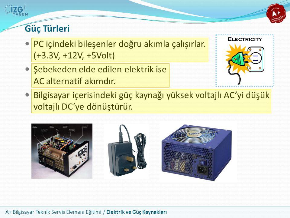 A+ Bilgisayar Teknik Servis Elemanı Eğitimi / Elektrik ve Güç Kaynakları PC içindeki bileşenler doğru akımla çalışırlar. (+3.3V, +12V, +5Volt) Şebeked