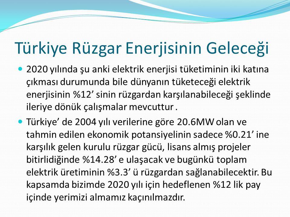 Türkiye Rüzgar Enerjisinin Geleceği 2020 yılında şu anki elektrik enerjisi tüketiminin iki katına çıkması durumunda bile dünyanın tüketeceği elektrik