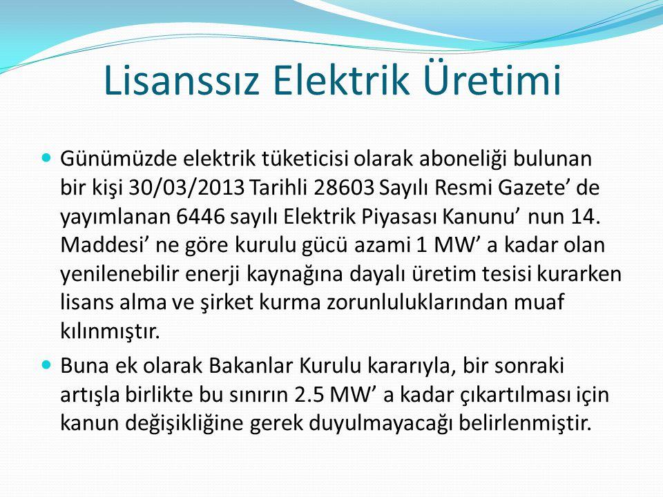 Lisanssız Elektrik Üretimi Günümüzde elektrik tüketicisi olarak aboneliği bulunan bir kişi 30/03/2013 Tarihli 28603 Sayılı Resmi Gazete' de yayımlanan