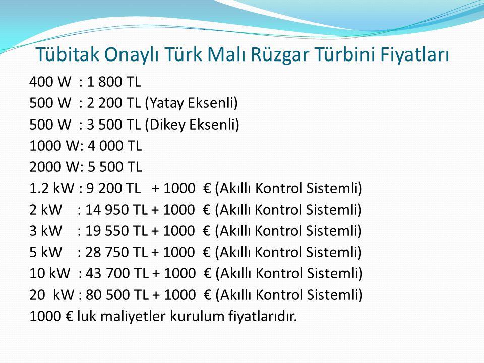 Tübitak Onaylı Türk Malı Rüzgar Türbini Fiyatları 400 W : 1 800 TL 500 W : 2 200 TL (Yatay Eksenli) 500 W : 3 500 TL (Dikey Eksenli) 1000 W: 4 000 TL