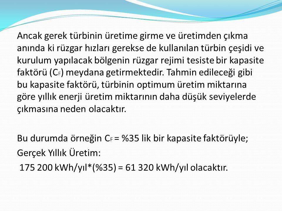 Ancak gerek türbinin üretime girme ve üretimden çıkma anında ki rüzgar hızları gerekse de kullanılan türbin çeşidi ve kurulum yapılacak bölgenin rüzga