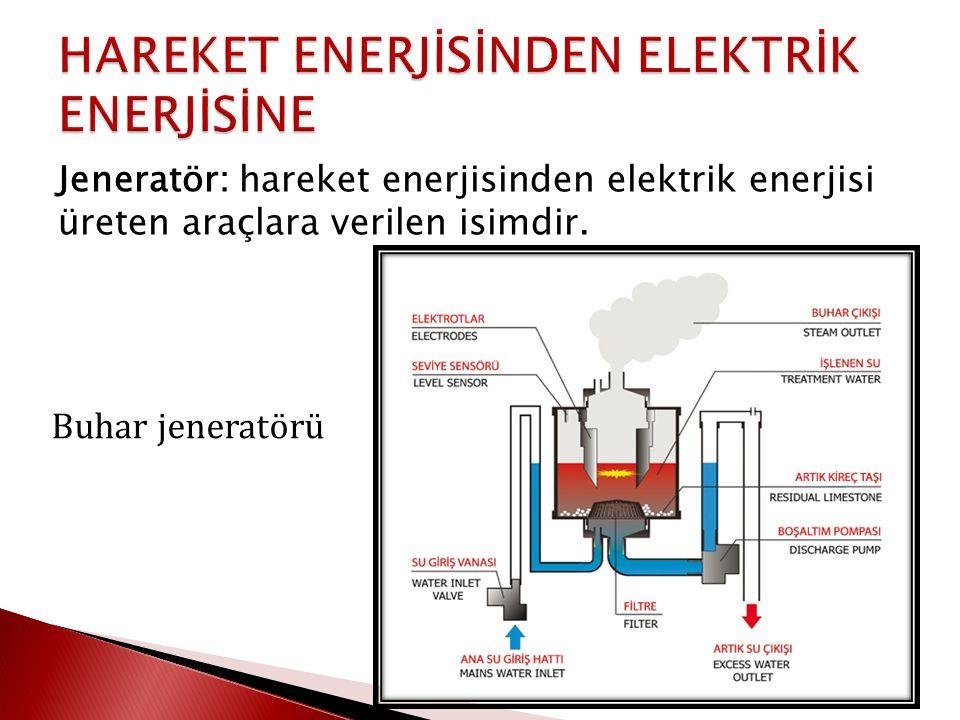 Jeneratör: hareket enerjisinden elektrik enerjisi üreten araçlara verilen isimdir. Buhar jeneratörü