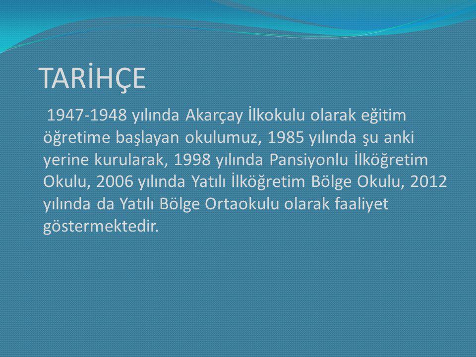 TARİHÇE 1947-1948 yılında Akarçay İlkokulu olarak eğitim öğretime başlayan okulumuz, 1985 yılında şu anki yerine kurularak, 1998 yılında Pansiyonlu İlköğretim Okulu, 2006 yılında Yatılı İlköğretim Bölge Okulu, 2012 yılında da Yatılı Bölge Ortaokulu olarak faaliyet göstermektedir.