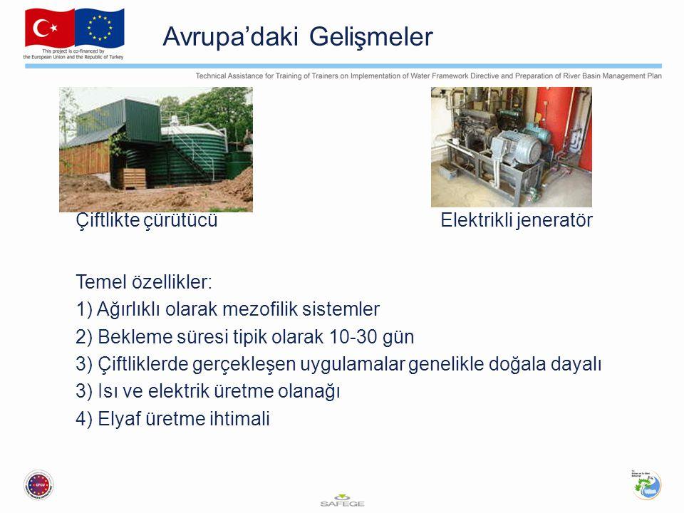 Avrupa'daki Gelişmeler Çiftlikte çürütücü Elektrikli jeneratör Temel özellikler: 1) Ağırlıklı olarak mezofilik sistemler 2) Bekleme süresi tipik olara