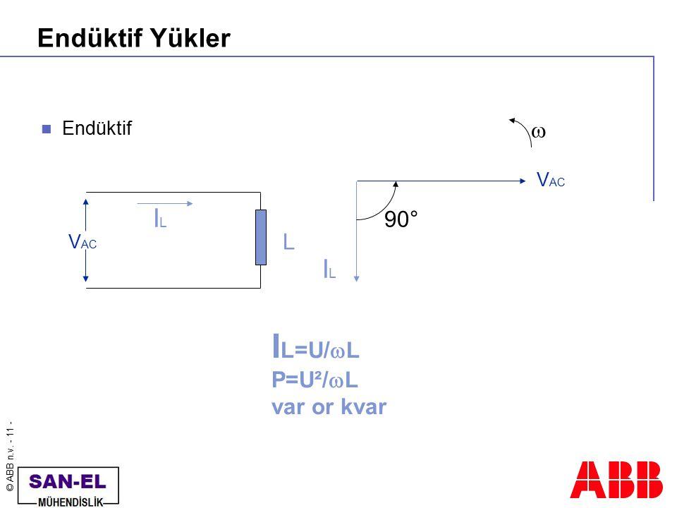 © ABB n.v. - 11 - Endüktif Yükler Endüktif ILIL V AC L ILIL  90° I L=U/  L P=U²/  L var or kvar