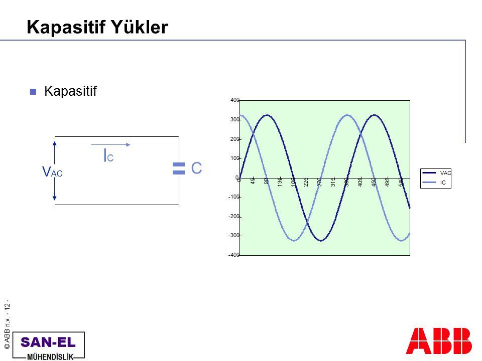 © ABB n.v. - 12 - Kapasitif Yükler Kapasitif ICIC V AC C -400 -300 -200 -100 0 100 200 300 400 0 4590 135180225270315360405450495540 VAC IC
