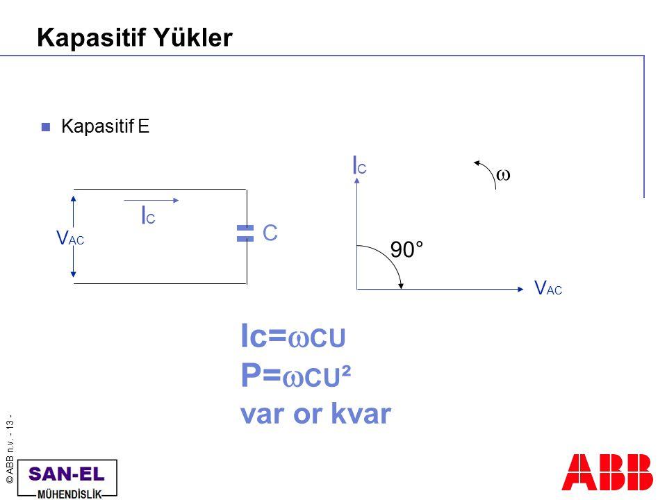 © ABB n.v. - 13 - Kapasitif Yükler Kapasitif E V AC C ICIC ICIC  90° Ic=  CU P=  CU ² var or kvar