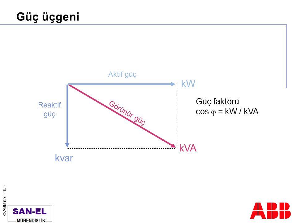 © ABB n.v. - 15 - Güç üçgeni kVA Görünür güç Aktif güç kW Reaktif güç kvar Güç faktörü cos  = kW / kVA