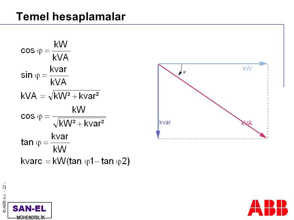 © ABB n.v. - 22 - Temel hesaplamalar kW kVA kvar 