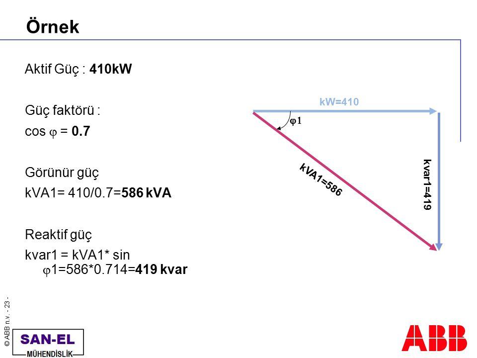 © ABB n.v. - 23 - Örnek Aktif Güç : 410kW Güç faktörü : cos  = 0.7 Görünür güç kVA1= 410/0.7=586 kVA Reaktif güç kvar1 = kVA1* sin  1=586*0.714=419