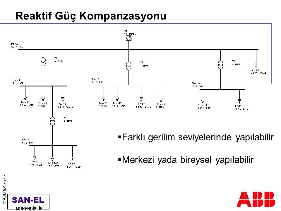 © ABB n.v. - 27 - Reaktif Güç Kompanzasyonu  Farklı gerilim seviyelerinde yapılabilir  Merkezi yada bireysel yapılabilir