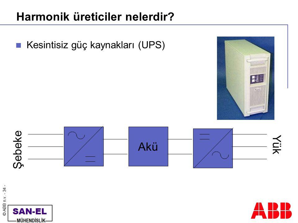© ABB n.v. - 34 - Harmonik üreticiler nelerdir? Kesintisiz güç kaynakları (UPS) Akü Şebeke Yük