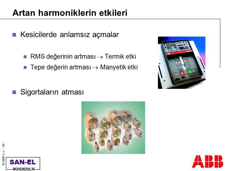 © ABB n.v. - 39 - Artan harmoniklerin etkileri Kesicilerde anlamsız açmalar RMS değerinin artması  Termik etki Tepe değerin artması  Manyetik etki S