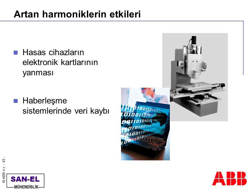 © ABB n.v. - 43 - Artan harmoniklerin etkileri Hasas cihazların elektronik kartlarının yanması Haberleşme sistemlerinde veri kaybı