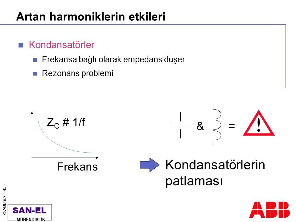 © ABB n.v. - 45 - Artan harmoniklerin etkileri Kondansatörler Frekansa bağlı olarak empedans düşer Rezonans problemi Frekans Z C # 1/f &= Kondansatörl