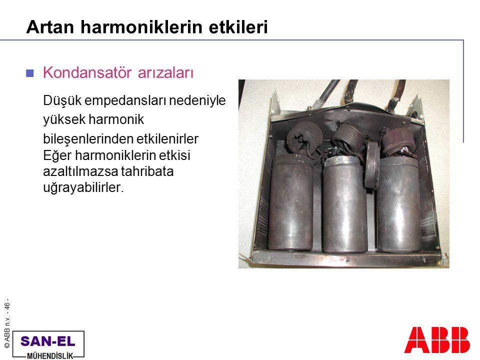 © ABB n.v. - 46 - Artan harmoniklerin etkileri Kondansatör arızaları Düşük empedansları nedeniyle yüksek harmonik bileşenlerinden etkilenirler Eğer ha