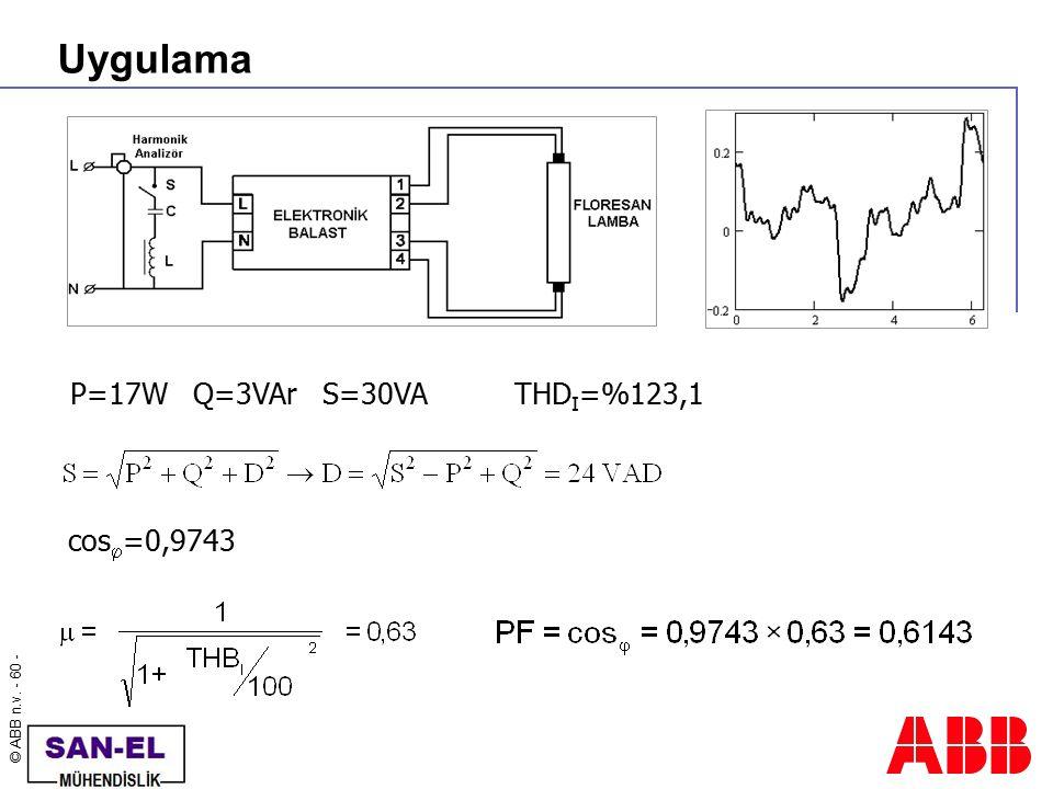 © ABB n.v. - 60 - Uygulama P=17W Q=3VAr S=30VA cos  =0,9743 THD I =%123,1
