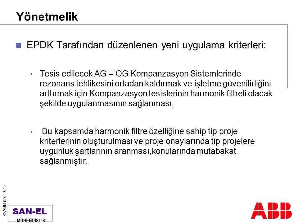 © ABB n.v. - 64 - Yönetmelik EPDK Tarafından düzenlenen yeni uygulama kriterleri: Tesis edilecek AG – OG Kompanzasyon Sistemlerinde rezonans tehlikesi
