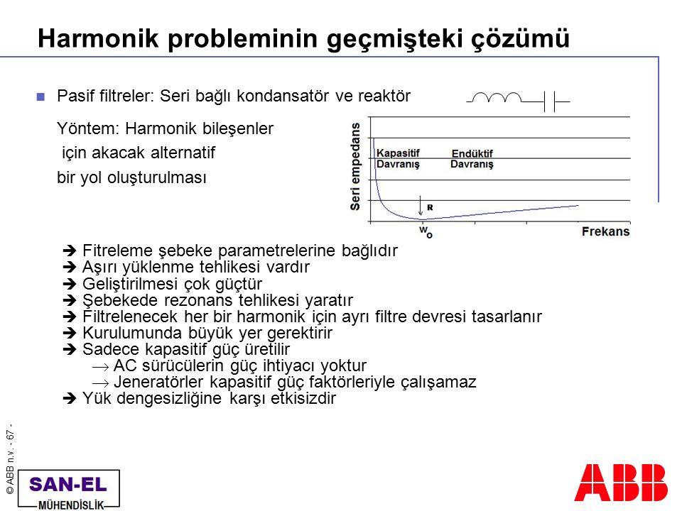 © ABB n.v. - 67 - Harmonik probleminin geçmişteki çözümü Pasif filtreler: Seri bağlı kondansatör ve reaktör Yöntem: Harmonik bileşenler için akacak al