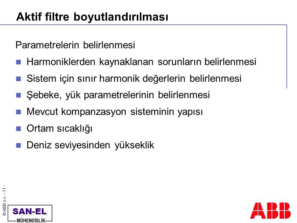 © ABB n.v. - 71 - Aktif filtre boyutlandırılması Parametrelerin belirlenmesi Harmoniklerden kaynaklanan sorunların belirlenmesi Sistem için sınır harm