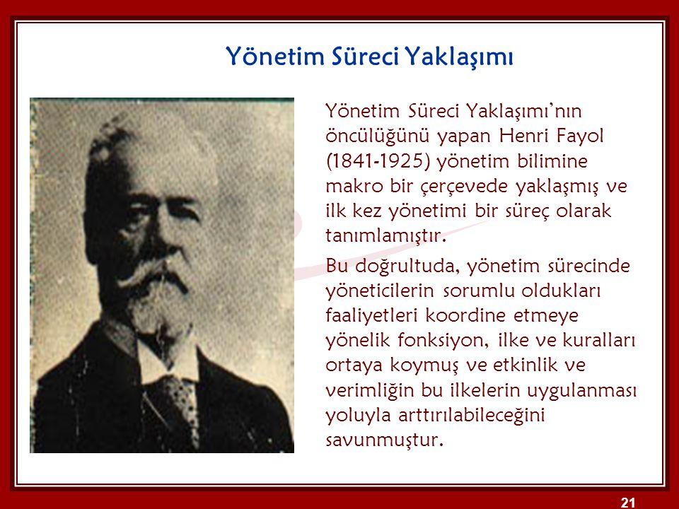 Yönetim Süreci Yaklaşımı Yönetim Süreci Yaklaşımı'nın öncülüğünü yapan Henri Fayol (1841-1925) yönetim bilimine makro bir çerçevede yaklaşmış ve ilk k
