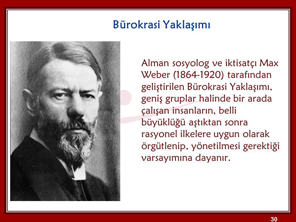 Bürokrasi Yaklaşımı Alman sosyolog ve iktisatçı Max Weber (1864-1920) tarafından geliştirilen Bürokrasi Yaklaşımı, geniş gruplar halinde bir arada çal