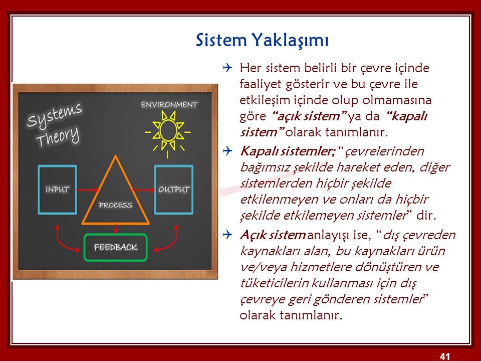 """Sistem Yaklaşımı  Her sistem belirli bir çevre içinde faaliyet gösterir ve bu çevre ile etkileşim içinde olup olmamasına göre """"açık sistem"""" ya da """"ka"""