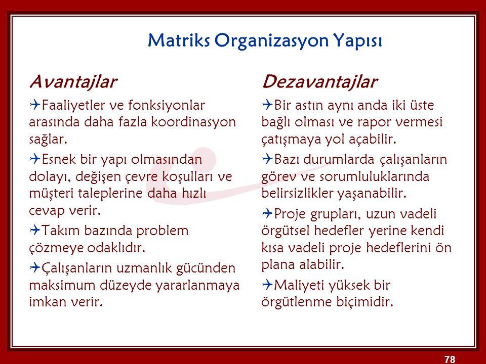 Matriks Organizasyon Yapısı Avantajlar  Faaliyetler ve fonksiyonlar arasında daha fazla koordinasyon sağlar.  Esnek bir yapı olmasından dolayı, deği