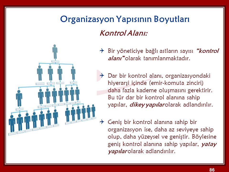 """Organizasyon Yapısının Boyutları Kontrol Alanı:  Bir yöneticiye bağlı astların sayısı """"kontrol alanı"""" olarak tanımlanmaktadır.  Dar bir kontrol alan"""