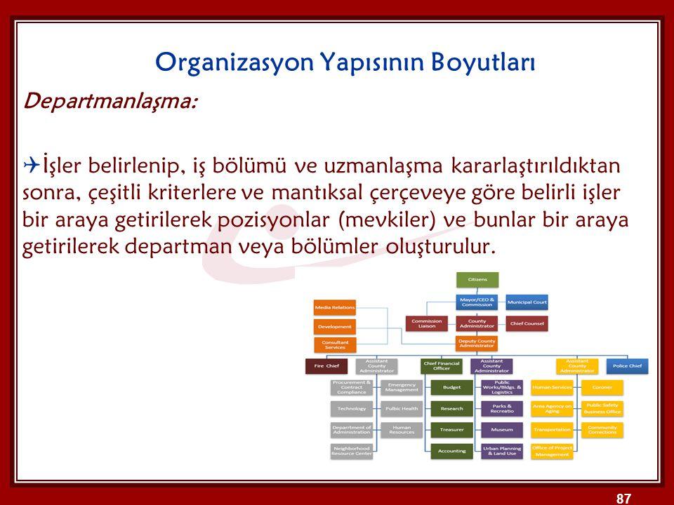 Organizasyon Yapısının Boyutları Departmanlaşma:  İşler belirlenip, iş bölümü ve uzmanlaşma kararlaştırıldıktan sonra, çeşitli kriterlere ve mantıksa
