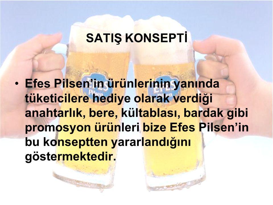 Efes Pilsen'in ürünlerinin yanında tüketicilere hediye olarak verdiği anahtarlık, bere, kültablası, bardak gibi promosyon ürünleri bize Efes Pilsen'in bu konseptten yararlandığını göstermektedir.
