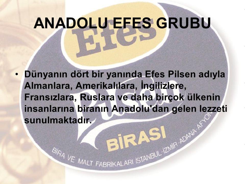 ANADOLU EFES GRUBU Dünyanın dört bir yanında Efes Pilsen adıyla Almanlara, Amerikalılara, İngilizlere, Fransızlara, Ruslara ve daha birçok ülkenin insanlarına biranın Anadolu dan gelen lezzeti sunulmaktadır.