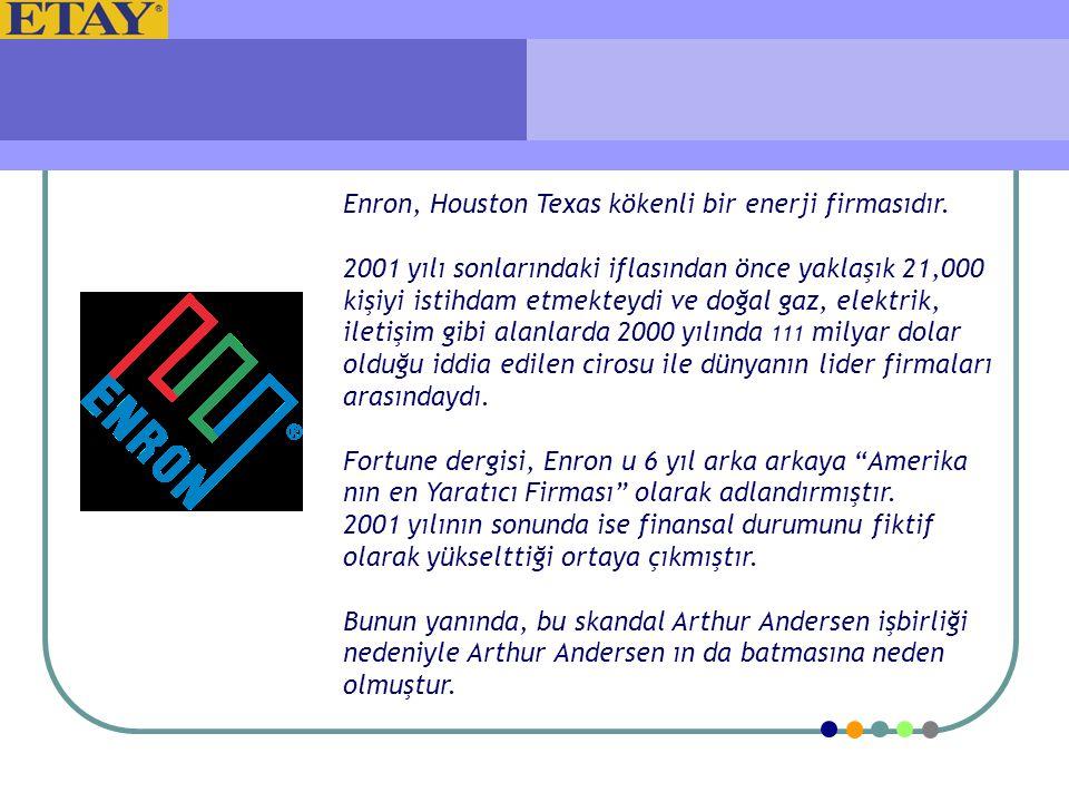 Enron, Houston Texas kökenli bir enerji firmasıdır. 2001 yılı sonlarındaki iflasından önce yaklaşık 21,000 kişiyi istihdam etmekteydi ve doğal gaz, el