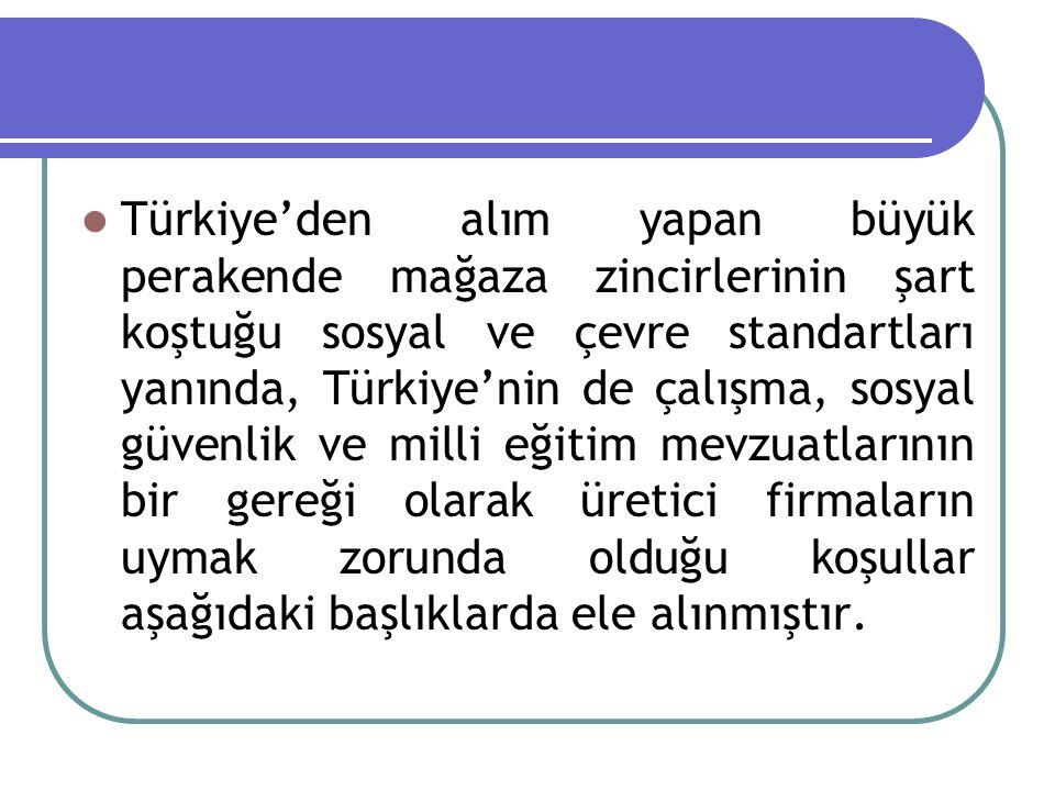 Türkiye'den alım yapan büyük perakende mağaza zincirlerinin şart koştuğu sosyal ve çevre standartları yanında, Türkiye'nin de çalışma, sosyal güvenlik
