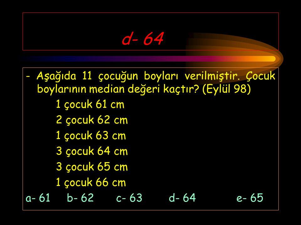 e- Uzun zamanda sonuçlanma - Vaka kontrol çalışmasının özelliği olmayan hangisidir? (Eylül 97) a- Kolay b- Ucuz c- Hatırlama zorluğu d- Seyrek hastalı