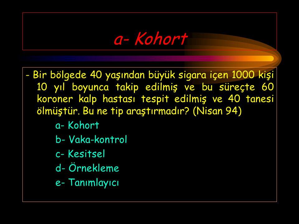a- Kohort - Bir bölgede 40 yaşından büyük sigara içen 1000 kişi 10 yıl boyunca takip edilmiş ve bu süreçte 60 koroner kalp hastası tespit edilmiş ve 40 tanesi ölmüştür.