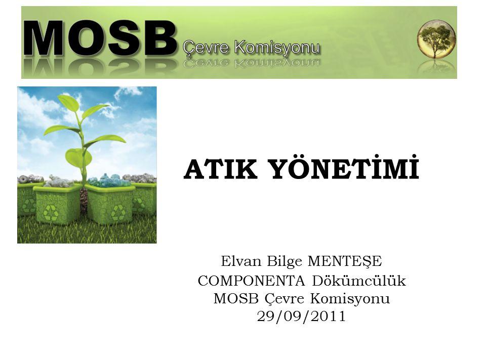 ATIK YÖNETİMİ Elvan Bilge MENTEŞE COMPONENTA Dökümcülük MOSB Çevre Komisyonu 29/09/2011