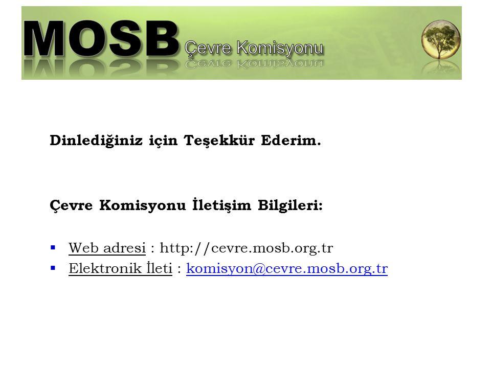 Dinlediğiniz için Teşekkür Ederim. Çevre Komisyonu İletişim Bilgileri:  Web adresi : http://cevre.mosb.org.tr  Elektronik İleti : komisyon@cevre.mos