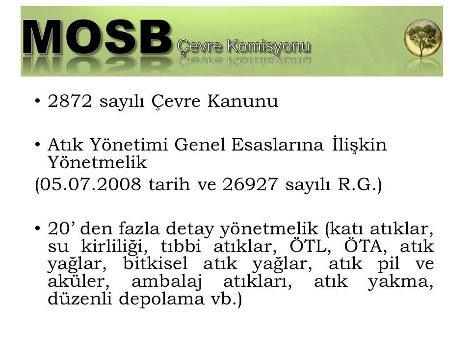 2872 sayılı Çevre Kanunu Atık Yönetimi Genel Esaslarına İlişkin Yönetmelik (05.07.2008 tarih ve 26927 sayılı R.G.) 20' den fazla detay yönetmelik (kat