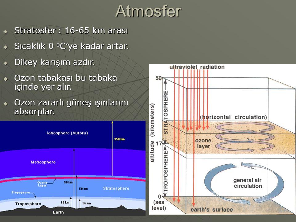Atmosfer  Stratosfer : 16-65 km arası  Sıcaklık 0 o C'ye kadar artar.  Dikey karışım azdır.  Ozon tabakası bu tabaka içinde yer alır.  Ozon zarar
