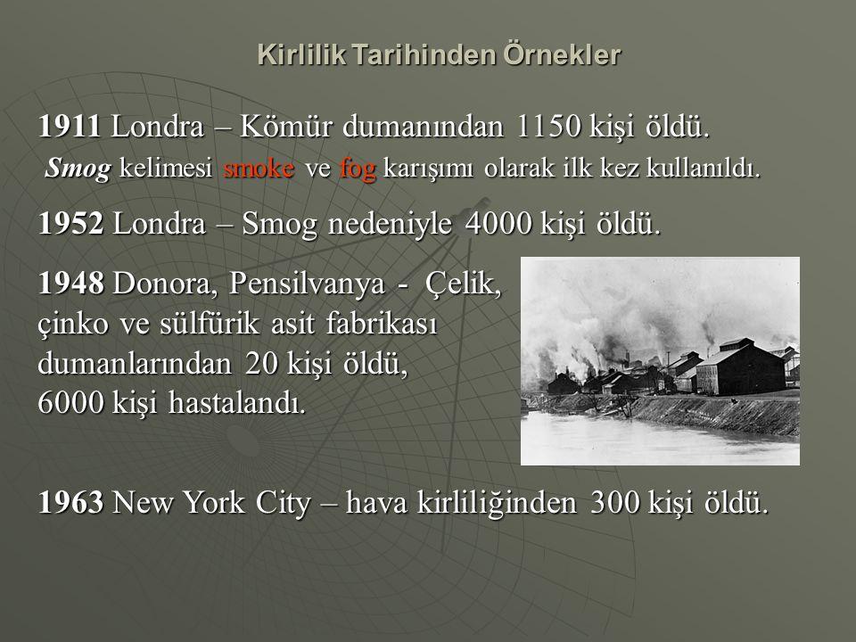 Kirlilik Tarihinden Örnekler 1911 Londra – Kömür dumanından 1150 kişi öldü. Smog kelimesi smoke ve fog karışımı olarak ilk kez kullanıldı. Smog kelime