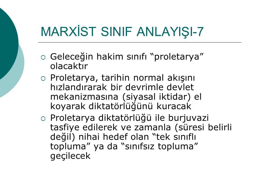 """MARXİST SINIF ANLAYIŞI-7  Geleceğin hakim sınıfı """"proletarya"""" olacaktır  Proletarya, tarihin normal akışını hızlandırarak bir devrimle devlet mekani"""