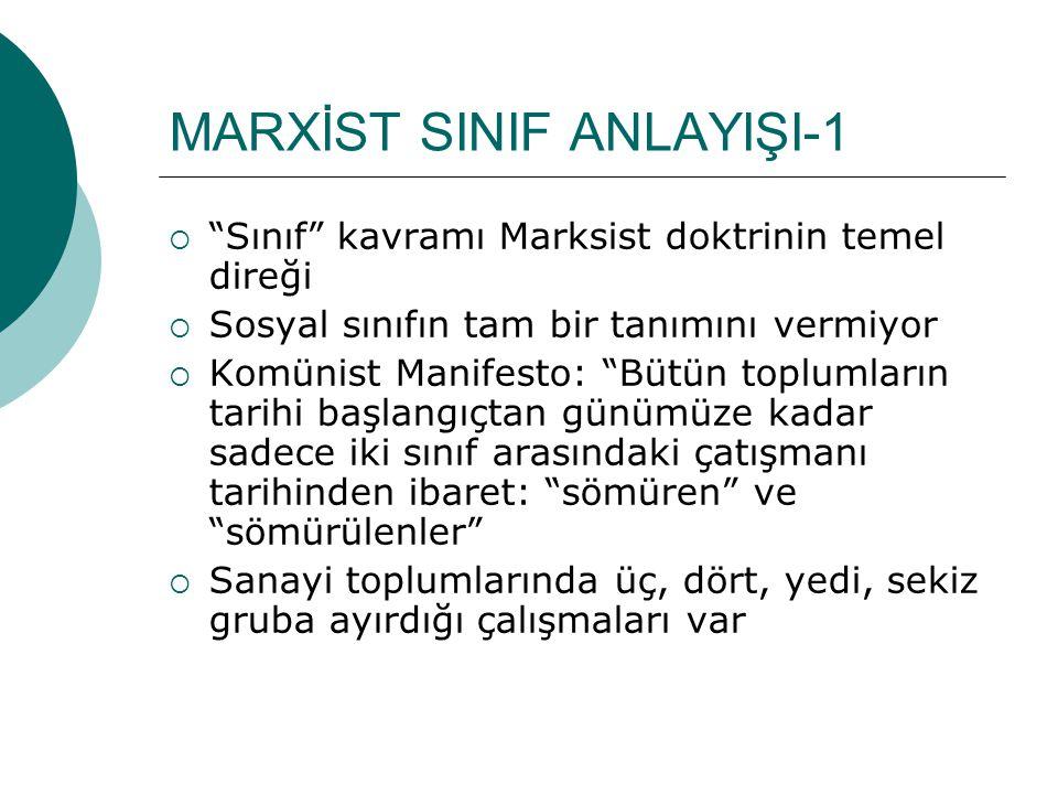 """MARXİST SINIF ANLAYIŞI-1  """"Sınıf"""" kavramı Marksist doktrinin temel direği  Sosyal sınıfın tam bir tanımını vermiyor  Komünist Manifesto: """"Bütün top"""