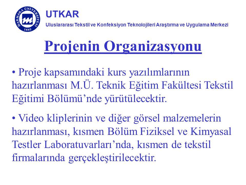 Uluslararası Tekstil ve Konfeksiyon Teknolojileri Araştırma ve Uygulama Merkezi UTKAR Projenin Organizasyonu Proje kapsamındaki kurs yazılımlarının ha
