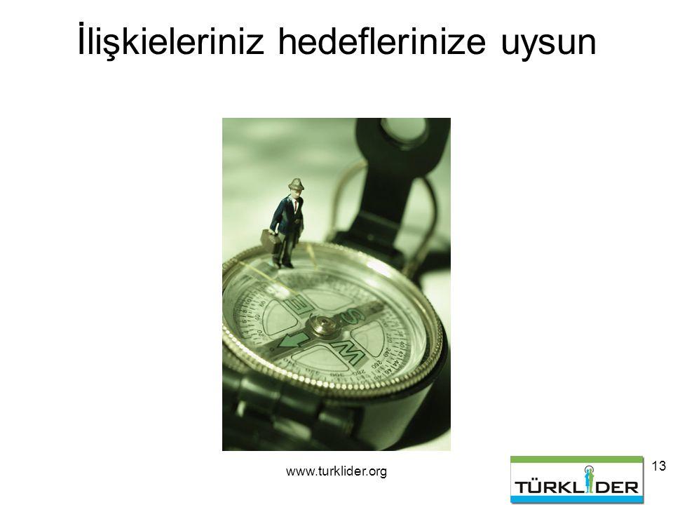 www.turklider.org 13 İlişkieleriniz hedeflerinize uysun